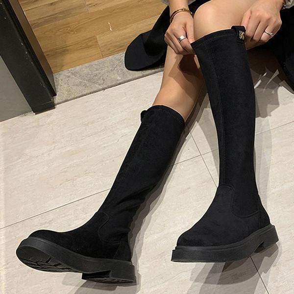 Women knee high boots autumn winter Below Kneeth Slip On Flat With Strench Flock Punk Biker Black platform boots botas mujer