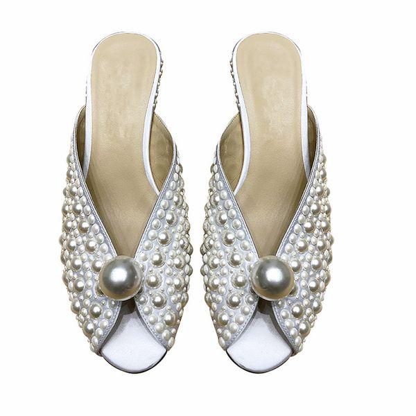 Las perlas blancas más nuevas decoraron los zapatos de la sandalia de los deslizadores para casarse los talones del deslizador de las mujeres de Fahion los 5.5cm tamaño 34-39 Envío libre