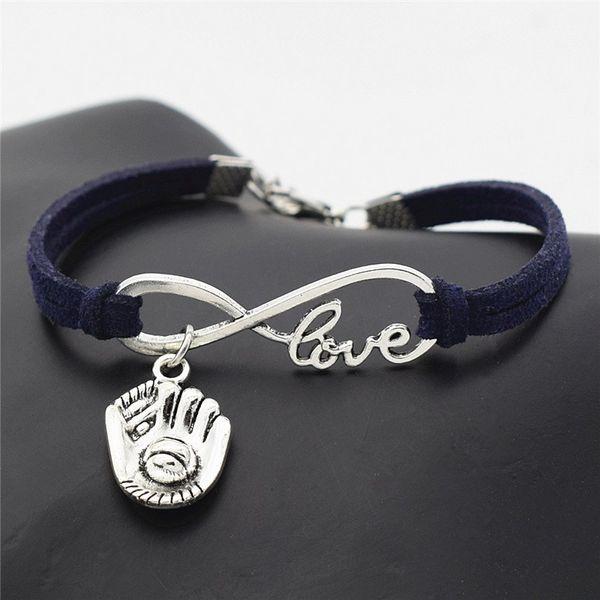 Bracciale in pelle scamosciata blu scuro moda Bracciale in corda intrecciata a catena a corda intrecciata Vintage Infinity Love Guanto da baseball 3D Guanti sportivi Gi