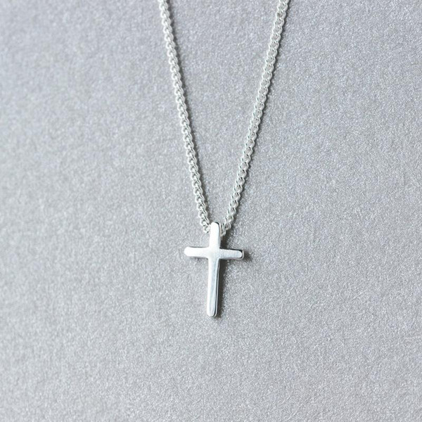 (So Small / Tinny CROSS) Real. Argent 925 POLI religion Croix crucifix collier pendentif Charms Bijoux GTLX1255