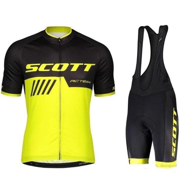 Neue Tour De France Scott Team Radfahren Langarm Trikot (Bib) Hosen Sets Herren Sommer Schnelltrocknend Kleidung Maillot Mountainbike Gel Gepolstert