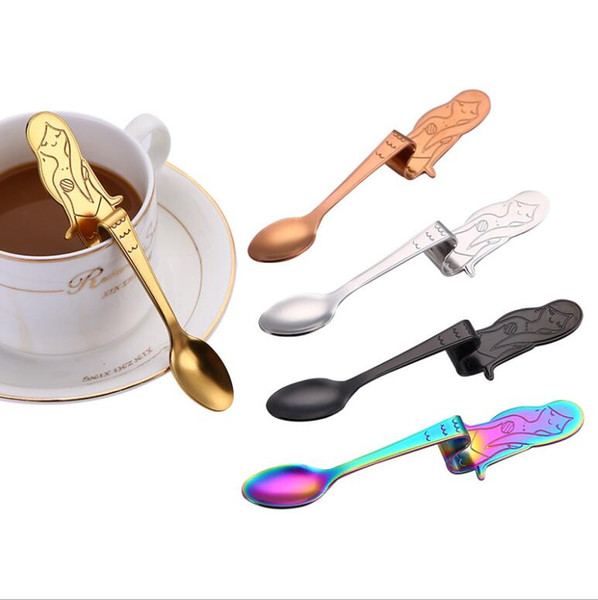 top popular New Beautiful Mermaid Shapes Stainless Steel Kids Feeding Spoon Ice Cream Tea Coffee Tableware Baby Gift Free Shipping 2019