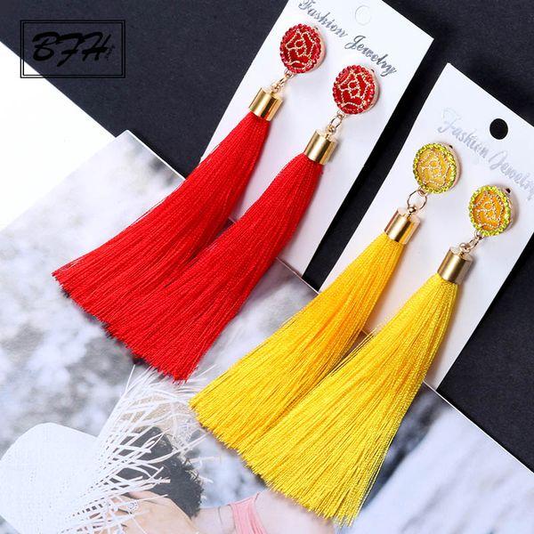 BFH moda vintage cristallo lungo nappa orecchini per le donne ragazza matrimonio festa di lusso di lusso orecchino decorazione gioielli regalo