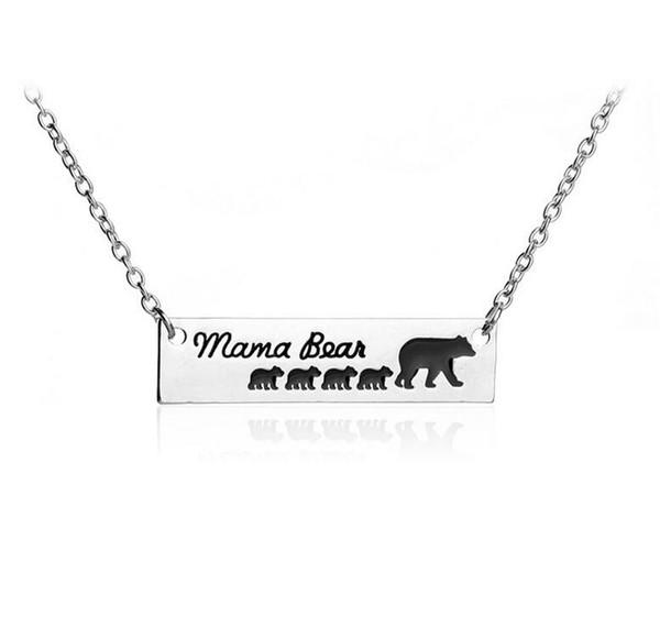 Requintado Mama Urso Crianças Mamãe Pet Tag Pingente de Colar de Jóias Mom Presente Da Família Amor 20 pcs Moda Colar de Liga de Prata