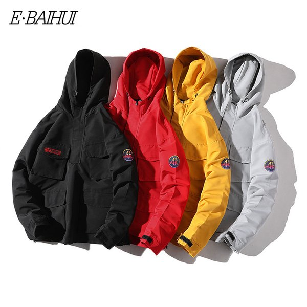 E-BAIHUI japan style Hooded Jacket Men Fashion Spring Autumn Hip Hop Jackets Male Streetwear Casual Solid Color Jacket Coat G062