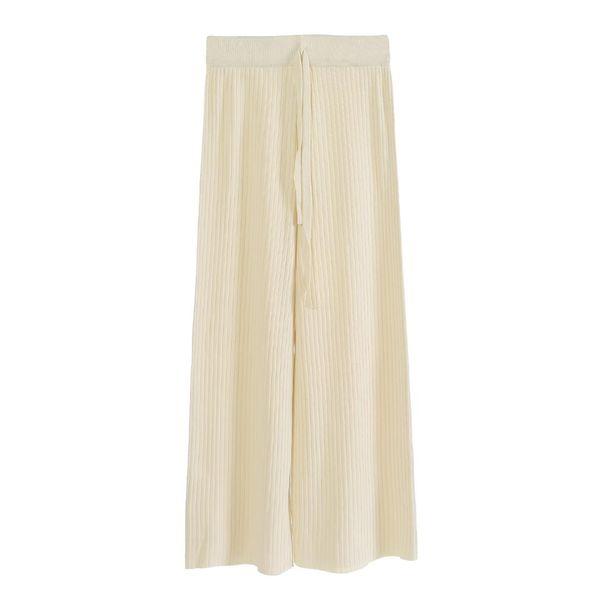 Breite Beinhosen weibliche dünne Abschnitt Frühling und Sommer koreanische Version der wilden hohen Taille gestrickte Perlen Eisseidenhose 0714
