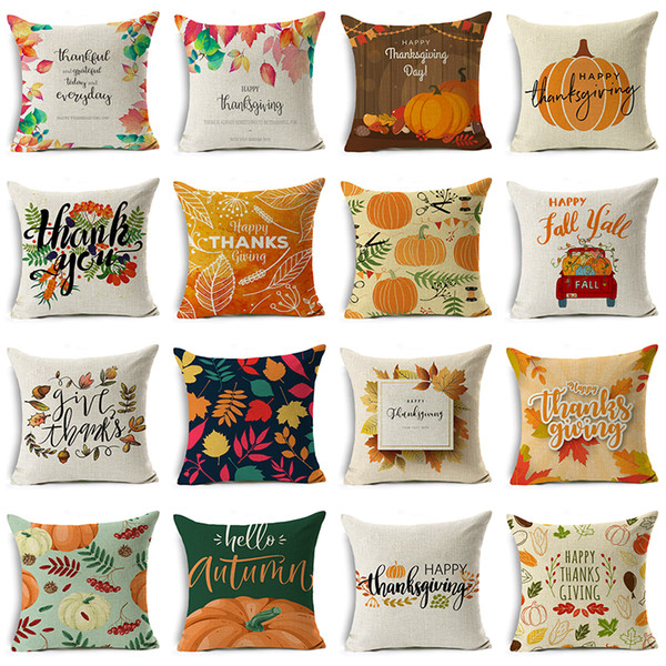 best selling 48 Styles Happy Thanksgiving Day Pillow Covers Fall Decor Linen Give Thanks Sofa Throw Pillow Case Home Car Cushion Covers 45*45cm