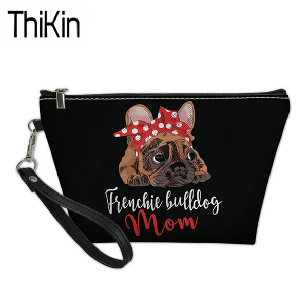 THIKIN Travel Organizer Cosmetic Bags Women Cute French Dog Printing Make Up Case Ladies Portable Wash Kit Bag Cosmetic Cases