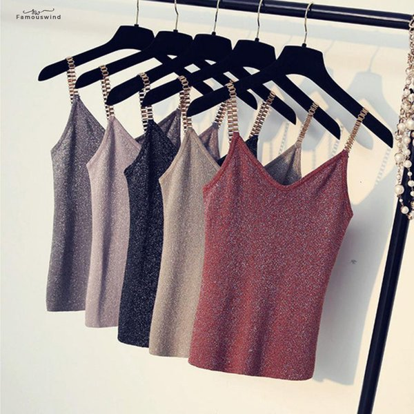 Mulheres Moda Verão de Slim Sexy Knitting Tops fêmeas Stretchy camisas sem mangas Com Shinning Rayon mangas malha Boa Qualidade