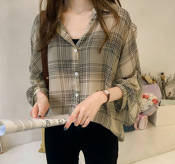 Women Blouses Long Sleeve Button Plaids Ladies Shirts Baggy Loose Cool Design Blouse New Tops M-5xl