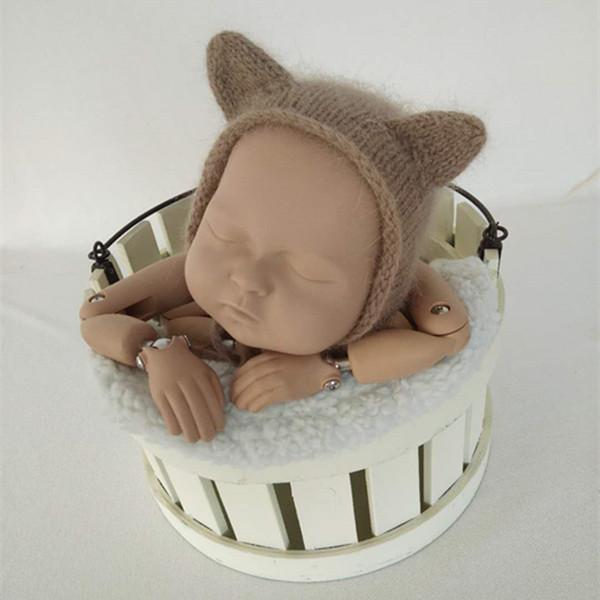 Teddy bonnet Baby boy girl hat Newborn Photo props Loopy Hat with Ears Hand knit Bear hat props