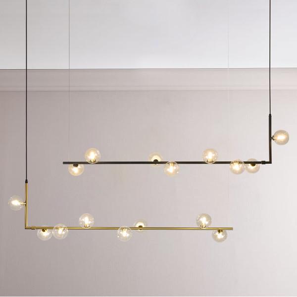 Modern minimalist avize ışıkları mutfak bar masa uzun avize led tasarım için siyah çatı cam top asılı ışık Fikstür