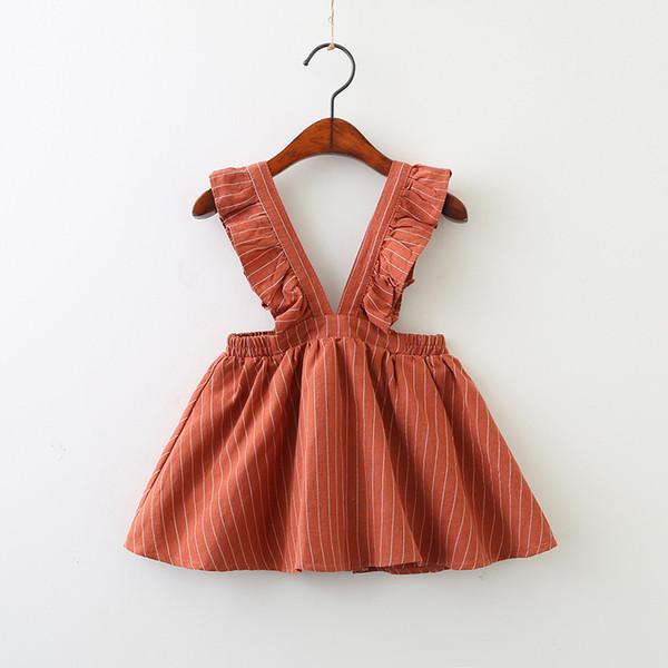 New baby girls stripe suspender dress 2019 Spring Autumn children Ruffle strap dress Boutique fashion kids clothing 2 colors C5782