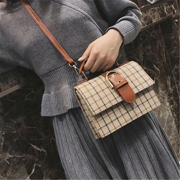 Lucky2019 Bag Pliers Lattice Woman Concise Joker Heavy Woolen Cloth Portable Packet Single Shoulder Messenger
