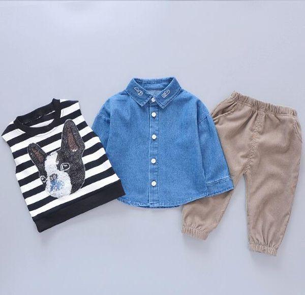 2019 Children's Spring and Autumn New Clothes Cartoon Puppy Cute Three-piece Boy Stripe Spring Style