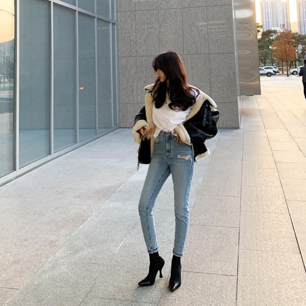 Women High Waist Ripped Hole Jeans 2019 Retro Stretch Denim Pencil Pants Female Casual Skinny Trousers
