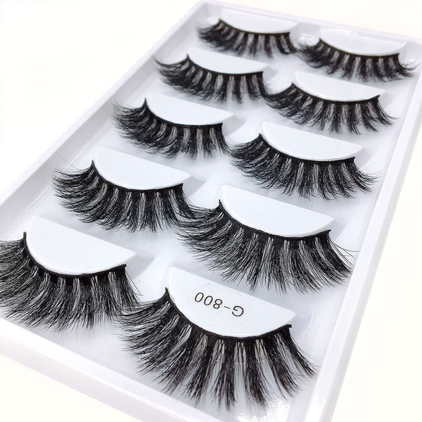 5pairs/set False EyeLashes 5 Pairs 3D Natural Long Fake Eyelashes G800 Handmade Makeup Tools Accessories DHL