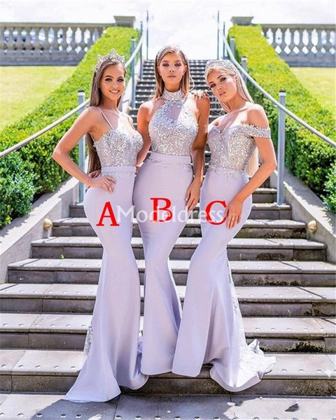 Delicado 2019 Sereia Da Dama De Honra Vestidos de Lantejoulas Apliques Sweep Trem País Partido Formal Vestido de Noite Estilo Misto Chique Vestidos De Fiesta