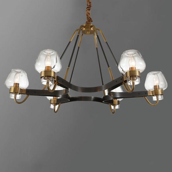 LED Chandelier Lighting Contemporary Hanging Lamp Indoor Light Fixture Home Decoration Art Novelty Lighting Copper Glass Design - I102