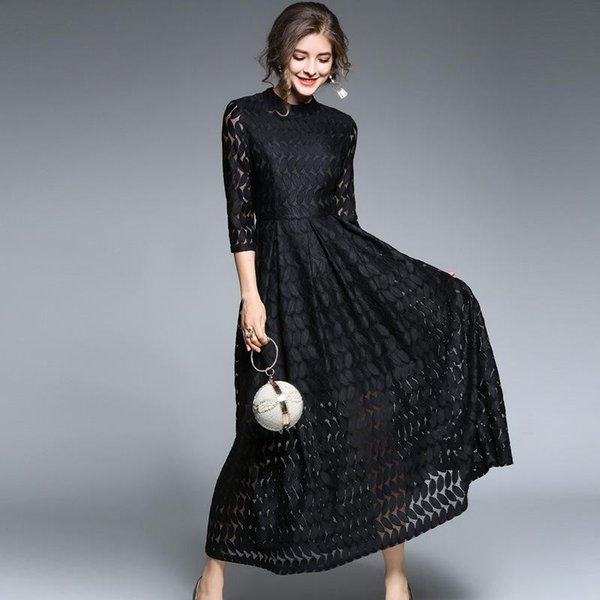 Women Long Evening Dress Lace Black Elegant Hollow Out 1/2 Sleeve Crew Neck Maxi Dress A-Line Ladies Daily Business Formal Spring DHLFree