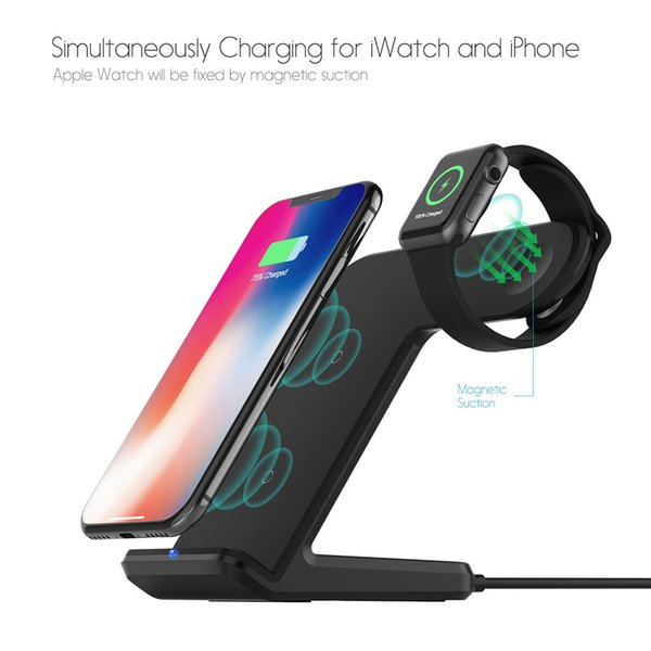Multifunctional Charger For Both Cellphone And Smart Watch 2 in 1 Fast Charging Qi Wireless Charger for Apple watch For iPhone
