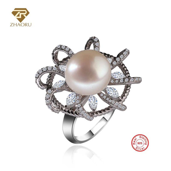 ZHAORU 100% Freshwater Pearl 925 Sterling Sliver Woman Rings Party Fine Jewelry Wedding Bands Cubic Zincon Flower Ring