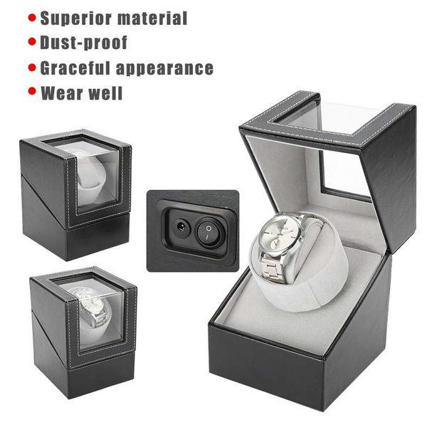 best selling Automatic Rotating Watch Display Box PU Leather Watch Winder Holder Jewelry Case Storage Organizer Box Black Brown