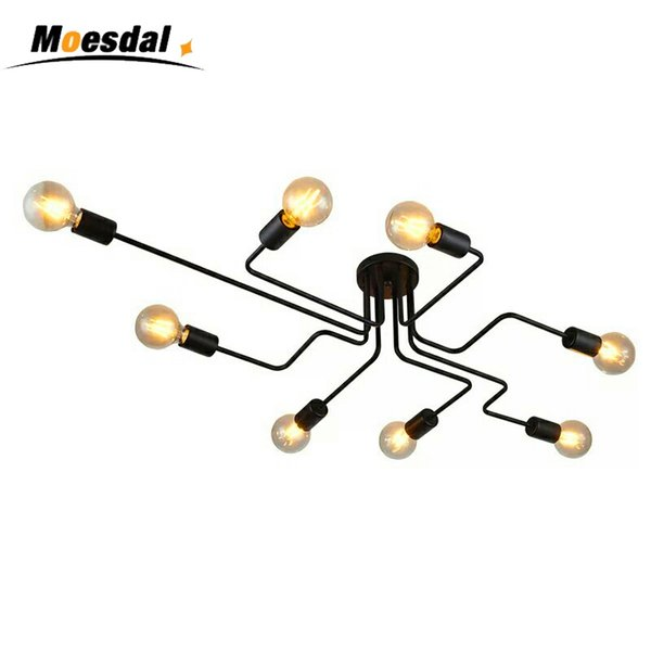 Hot 4/6/8 Heads Multiple Rod Wrought Iron Ceiling Light Retro Industrial Loft Nordic Dome Lamp for Home Decor Dinning Cafe Bar