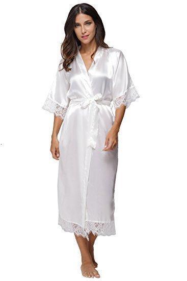 Lace Verão Retalhos de cetim Kimono Robe Sexy Pijamas Lingerie Chemises Mulheres Silk camisola longa de casamento da dama de honra Robes
