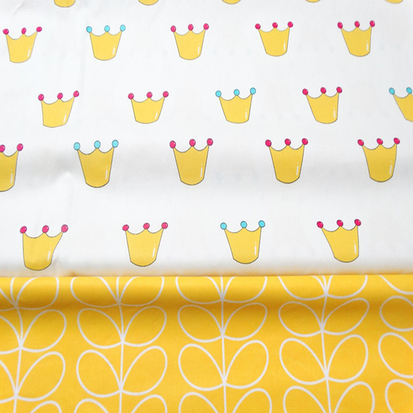 Crown and Leaf style 100%cotton fabric for baby cloth 10yards/lot tomo1850