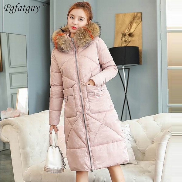 Big Pocket Pink Parkas Mujer 2018 Winter Jacket Women Loose Thicken Warm Coats Real Fur Collar Hooded Down Cotton Velvet Parkas