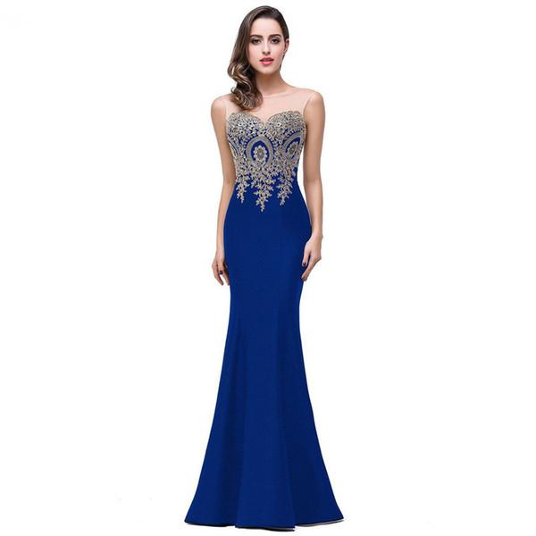 2018 barato sirena Scoop encaje mujeres vestidos de noche palabra de longitud vestidos sólidos sin mangas formales vestidos de baile