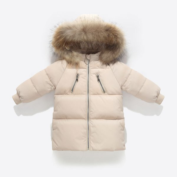 New Boy Girl Autumn Winter Long Coat with Fur Hood Thicken Down Jacket Warm Design Solid Zipper Decor Children's Cotton Parka
