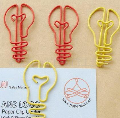 3500pcs Wholesale-Color cute light bulb shape paperclip, student stationery gift iron animal paperclip,Free shipping mix color factory