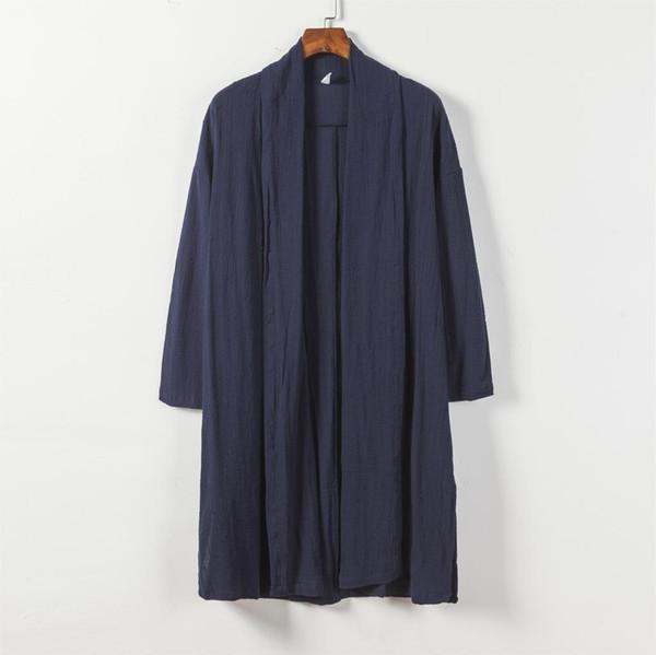 Escudo 2018 para hombre japonés kimono Negro Cardigan Hombres Casual Otoño Invierno CORTAVIENTO más el tamaño de la moda-Sinicism tienda Hombre Largo Trench