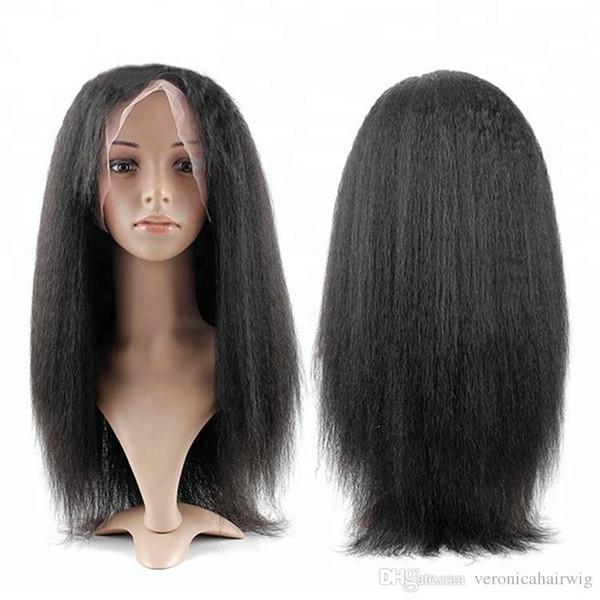 Parrucche nere diritte crespi del merletto dei capelli sintetici Parrucca anteriore del merletto sintetica dei capelli per le donne nere Parrucche morbide resistenti al calore parrucche del bambino