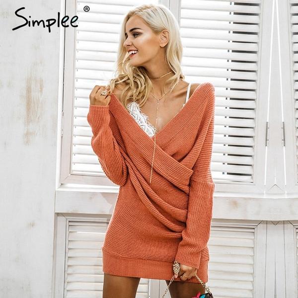 6957721ede7 Simplee Sexy V neck cross knitting sweater Women elegant long sleeve  pullover female winter dress Autumn