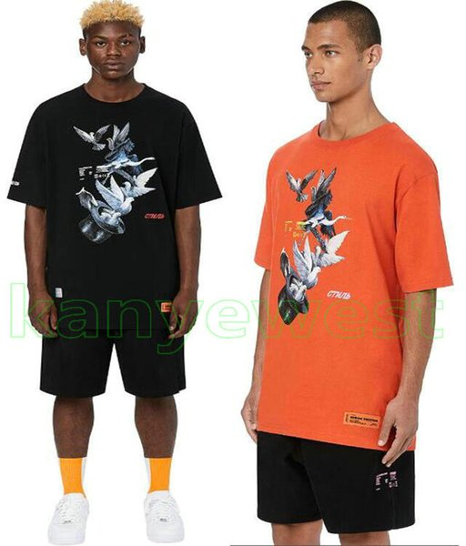 19ss New York Moda Yüksek Kaliteli Heron Preston ABD Barış Dove Nakış Hpc Erkek Kadın Sokak Lüks Pamuk Rahat Kısa Kollu T-Shirt