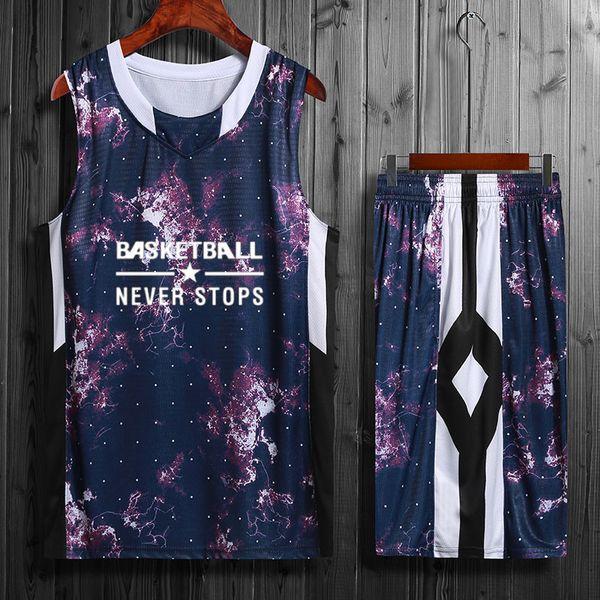 2019 Hochwertige Basketball Trikots Sets Jugend Atmungsaktive Basketball Uniformen Günstige Ports Sportswear College Basketball Shirt Mit Shorts