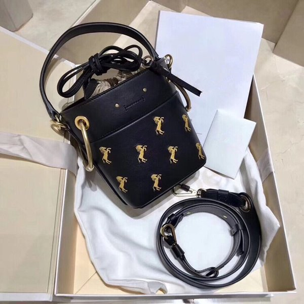 Belle2019 Genuine Personality Leather Width Straps Packet Pony Embroidery Bucket Package Woman Hand Bill Of Lading Shoulder Satchel