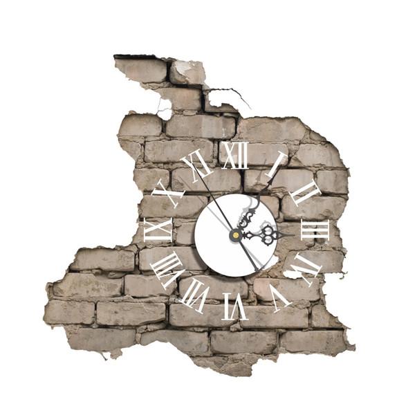 Acrílico Reloj de movimiento electrónico calcomanías moderno reloj de pared Cracking Break Wall Art 3D Sticker DIY elegante decoración para el hogar