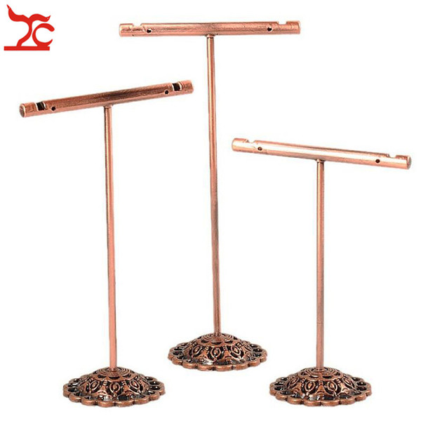 best selling 3Pcs Set Portable Earring Jewelry Display Rack Metal Earring Stud Necklace Organizer Ornament T Bar Hanger Showcase Holder Stand