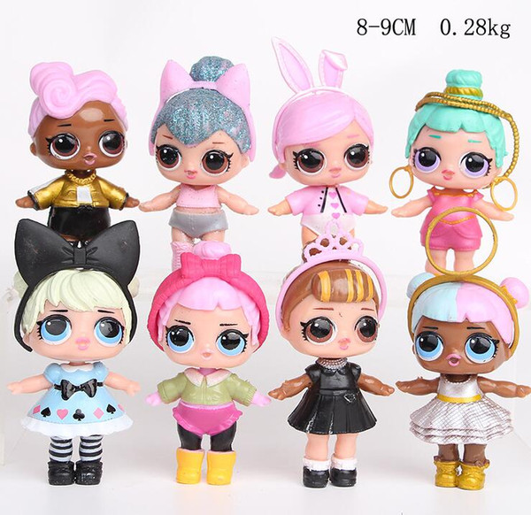9 CM LOL Puppen mit flasche Amerikanischen PVC Kawaii Kinder Spielzeug Anime Action-figuren Realistische Reborn Puppen für mädchen 8 Teile / los kinder spielzeug