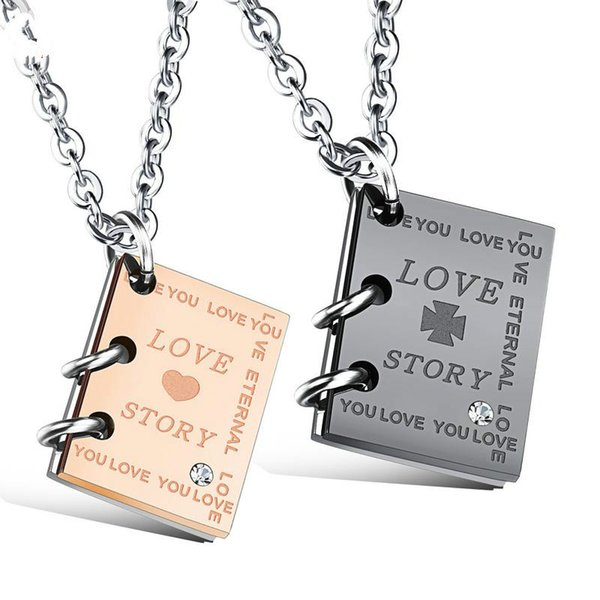 Love Story Book Necklace Titanium Steel Couple Necklace Gifts for Men and Women