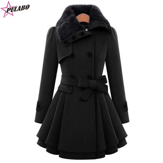 PULABO Women Oversized Swing Double Breasted Pea Coat Buttons Wool Mid-Long Trench Coat with Belt Winter Women Jackets