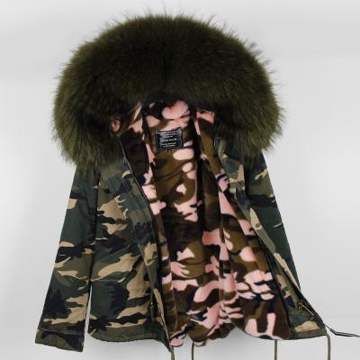 Large Real Raccoon fur collar and good quality Velvet Liner removable warm for Women's short mini Camouflage Down parkas maomaokong