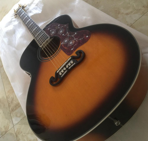 top popular Custom Shop 43 inch Jumbo Tobacco Sunburst J200 Electric Acoustic Guitar Red Wine Turtle Pickguard, Grover Tuners, Copy Fishman Pickup 2020