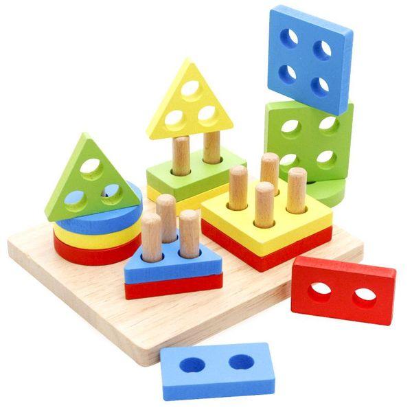 Holzspielzeug Kinder Pädagogisches Puzzle Geometrie Form Intellige Lernwerkzeuge Spielzeug Spiele