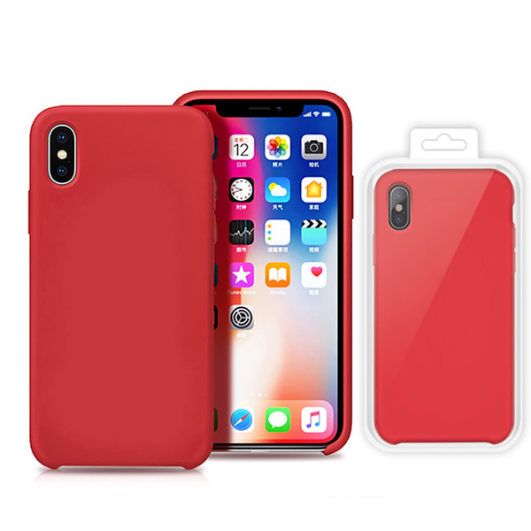 for iphone XS max XR 7 8 X Cases Original Soft liquid Silicone Case rubber Covers protector smasung note 8 with package