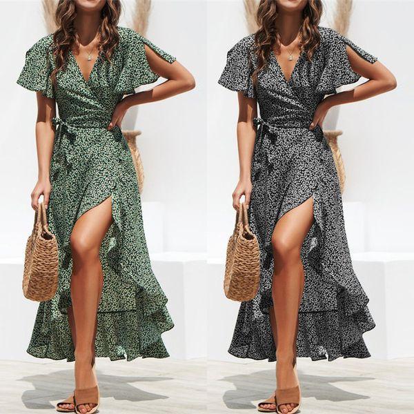 Robe imprimée à pois Fashion Plage tropicale verte Vintage Maxi robes Boho Casual col en V Ceinture À Lacets Tunique Drapée Plus Size Robe Mousseline